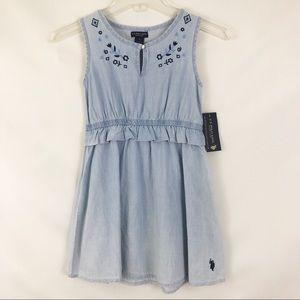 U.S Polo Assn Blue Embroidered Girl Dress Sz 7 NWT